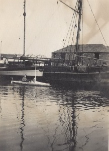 11. Ceres, Lower Wharf, Bude, possibly Alfred Petherick in canoe