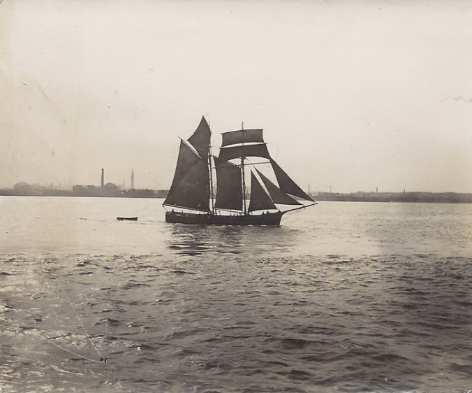 "'Ethel May' of Chester, built 1878 by Jones, Rhyl In March 2015, shortly after publishing this photograph, I received the following: I was thrilled to find, by chance in your collection, a photo of my Great Grandfather's boat. The Ethel May was built at Rhyl, North Wales, in 1878 (65 tons) owned by John Kearney of Co.Down.  I am assuming it was a schooner?  My Great Grandfather, Richard Coppack was her captain.  My Aunt was named after the boat, although she always felt it should have been the other way around.  Both of my mother's grandparents were mariners, one a river pilot on the Dee.  The Coppacks were mariners of Connah's Quay on the North Wales coast.  During a hurricane(!) in November 1890 (The Times 12th November 1890) my Great Grandfather drowned, having been washed overboard whilst his boat was being rescued. I have a pair of binoculars which belong either to Richard or my other Great Grandfather, Stephen.  Sadly, my mother cannot remember which(she is 101 ). I found your website as I am trying to track Richard Coppack down. He is on the census of 1881 on the George Evans in Cardigan and prior to that in Whitehaven on a ""vessel"".  I would love to know more about what he was doing there, his cargo etc. From the photo, it looks like it could have been taken in Liverpool, on the Mersey."