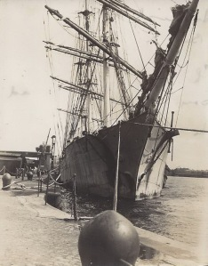'Fortuna', Argentine ship discharging whale oil at Birkenhead just previous to leaving on her last trip. You will remember she was destroyed by fire during gale off Irish coast 1927. Her crew were all Norwegians.