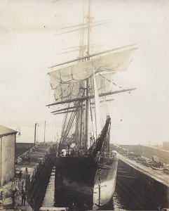 'Pommern', Finnish four-masted barque in dry-dock at Birkenhead, March 1928