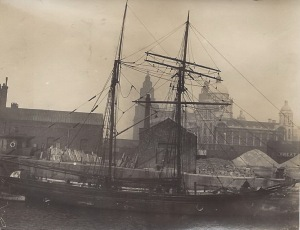 'Volant' of Kirkwall, built 1867 by Geddie, Banff, was damaged by fire 1923 at the tail of The Bank when on passage from Dublin to Belfast. Still running.